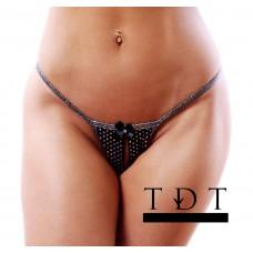 BodyZone Apparel Midnight Diamonds Crotchless Thong - UN038BK - FREE SHIPPING